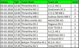v.v.Thriantha, overzicht thuiswedstrijden 3-2-2018