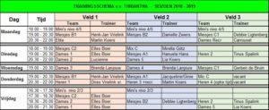 vv Thriantha, trainingsschema seizoen 2018-2019