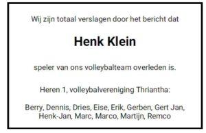 vv Thriantha, overlijdensadvertentie, Henk Klein, speler H1