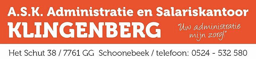 vv Thriantha, advertentie sponsor logo Administratie en Salariskantoor Klingenberg te Schoonebeek